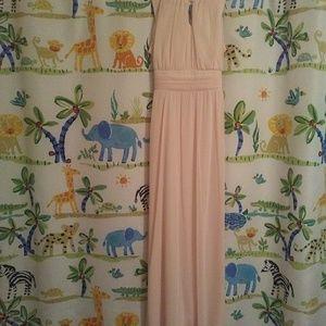 Girls light peach long gown (new never worn)